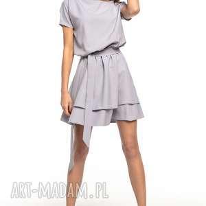 Sukienka z podwójną spódnicą, T268, szary, elegancka, sukienka, tkanina, podwójna