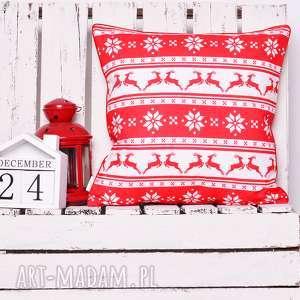 Pomysł na prezent pod choinkę! Poduszka xmas reindeers red