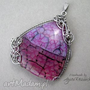 hand made wisiorki wisior duży agat, wire wrapping, stal chirurgiczna