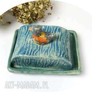ceramiczna maselniczka złota kaczka, polskie rzemiosło, polska ceramika, ręcznie