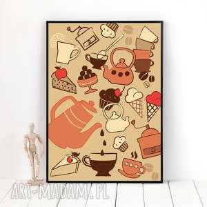 autorska grafika czas na kawę, format a3, plakat, grafika, ilustracja, kawa