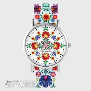 zegarek - folkowa mandala folk biały, nato, zegarek, z mandalą
