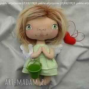 szarotka aniołek lalka - dekoracja tekstylna, ooak, aniołek, na ścianę