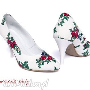 swarne buty szpilki ślubne z tybytu, ślubne, ludowe, tybyt, góralskie, folk