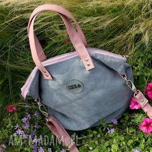 torba damska z tkaniny uchwytami w pudrowym różu, torba-damska, torebka-na-ramię