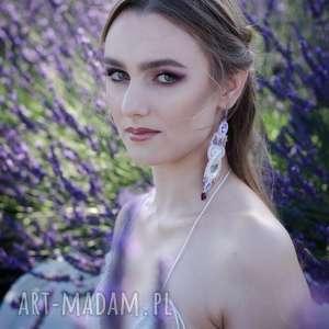 ażurowe długie kolczyki ślubne - kompleet lavender dream