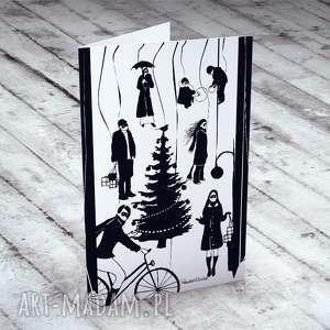 kartki bożonarodzeniowe miasteczko - komplet 5 kartek, bożonarodzeniowe