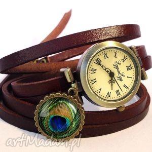 pawie oko - zegarek bransoletka na skórzanym pasku, skóry