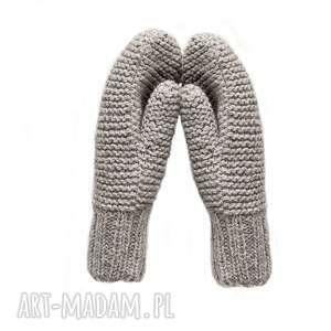 Dwuwarstwowe beżowe - melanż, rękawiczki, mitenki, dziergane, wełniane,