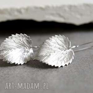 925 srebrne kolczyki liście ii, liście, srebro, 925, wiszące, prezent, lekkie
