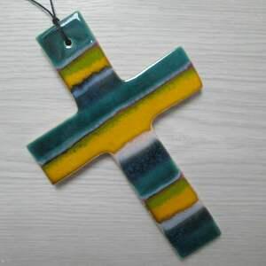handmade dekoracje kolorowy krzyż ceramiczny