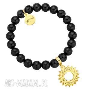 Czarna bransoletka z pereł SWAROVSKI® CRYSTAL ze złotą rozetą, bransoletka, zawieszka