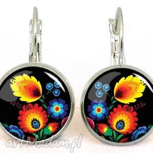 autorskie kolczyki ludowe kwiaty - małe kolczyki wiszące