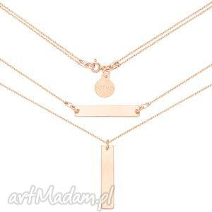 podwójny naszyjnik z różowego złota prostokątnymi