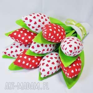 tulipany handmade z materiału bukiet - tulipany, ozdoba, serca, dekoracje, prezent