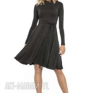Zwiewna sukienka z miłej w dotyku dzianiny, T148, ciemnoszary, zwiewna,