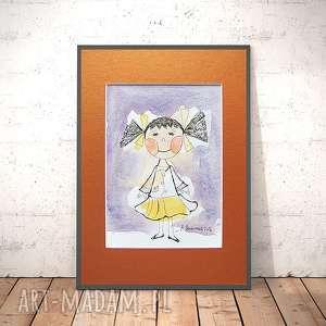 dziewczynka rysunek,obrazek z dziewczynką,obrazek do pokoju dziewczynki,ilustracja dla