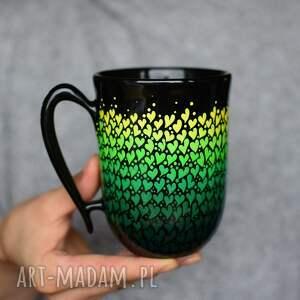 ręcznie wykonane kubki kubek ceramiczny serduszka zielone 325ml