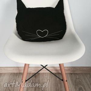 poduszka kocia główka dwustronna - ,poduszka,kot,kotek,meow,catlady,haft,