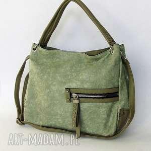 na ramię pistacjowa torba z kieszeniami, torba, torebka, eko skóra