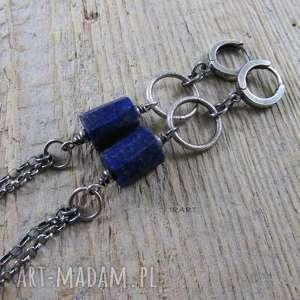 bryłki lapis lazuli - kolczyki, lapis, lazuli, srebro