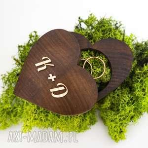 pudełko na obrączki - serce, obrączki, drewno