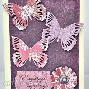 motyle życzenia - kartka, urodziny, życzenia, motyle, scrap