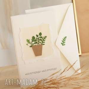 annamade, kartka na różne okazje, doniczkowe, kwiaty zielone imieniny, urodzinowa, ślub