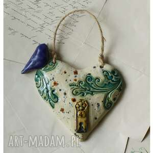 dekoracje serce nakrapiane wypukłe, ceramika, derce, klucz, ptak