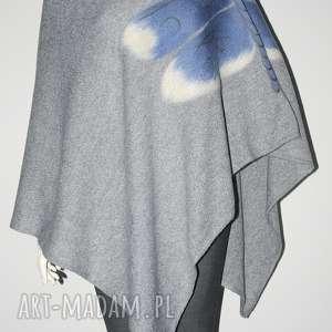 poncho ponczo filcowane wełną zdobione, ważka, filcowane, poncho, wełna, prezent
