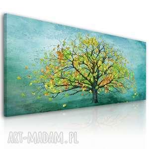 nowoczesny obraz drukowany na płótnie drzewo w turkusie 150x60cm 02328, drzewa