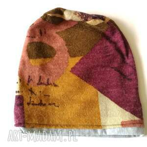 ręcznie robione czapki czapka damska ciepła stonowana uniwersalna