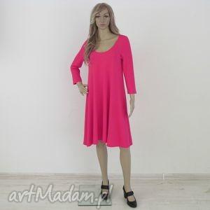 sukienki 71 - sukienka rozkloszowana fuksja, sukienka, dzianina, wiskoza