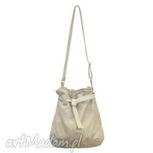 570417efc36a0 ręczne wykonanie na ramię 25-0002 Duża jasnobeżowa torebka worek do szkoły  lub na studia SPARROW