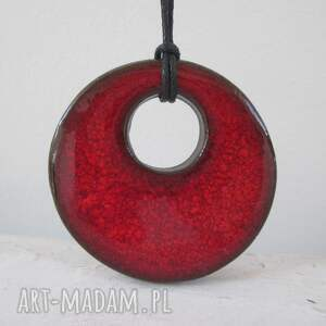 czerwony wisiorek ceramiczny, z ceramiki, czerwony, gliny, ceramiczny wisior