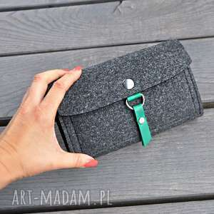 Portfel z filcu - grafitowy zielonym wnętrzem portfele beltrani