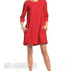 sukienki sukienka marszczona na plecach z kieszeniami, t326, malinowa