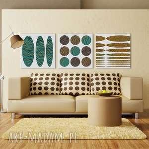 Obraz na płotnie - 3x40x40cm ABSTRAKCJA 0218 wysyłka w 24 h, kształty, abstrakcja