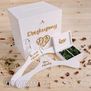Duży zestaw ślubny - pudełko na koperty czki ko, obrączki, ślub, mech, zestaw,
