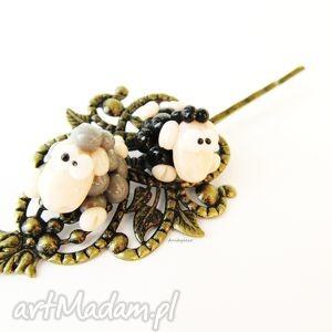 handmade ozdoby do włosów wsuwki do włosów - dwie owieczki