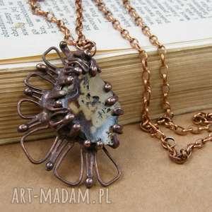 Naszyjnik: z koronkowym sfalerytem, długi-naszyjnik, wisiorek-z-kamieni