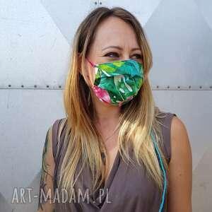 maseczka ochronna kolorowa maska liście flaming bawełna