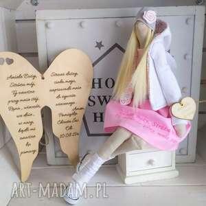 Anioł lalka pamiątka chrztu świętego pierwszej komunii lalki