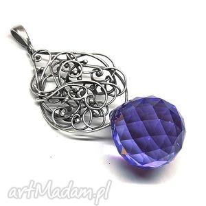 hand-made wisiorki swarovski purple