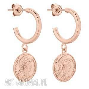 półkola m z różowego złota z monetami, eleganckie