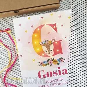 handmade pokoik dziecka metryczka, obraz led, świecąca litera, sarna, personalizowany