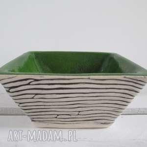 ceramika zielona kwadratowa miseczka, miska, na przekąski, zielona, ceramiczna
