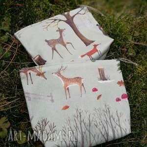 kosmetyczka zwierzątka lasu - ,kosmetyczka,las,leśna,lniana,liski,organizer,