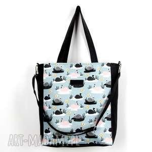 Kolorowa pojemna torbva łabędzie wodoodporna, torba, pojemna, laptop