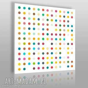 obraz na płótnie - minimalizm kropki 80x80 cm 11301, kropki, kolory, kółka